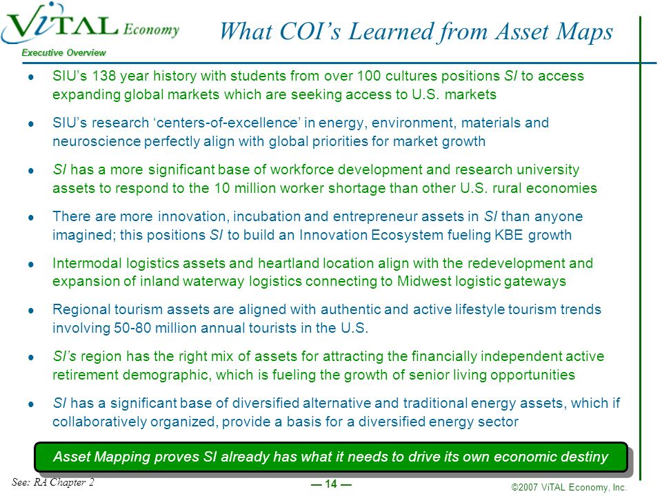 ©2007 ViTAL Economy, Inc. Executive Overview 14 What COIs Learned from Asset Maps SIUs 138 year history with students from over 100 cultures positions
