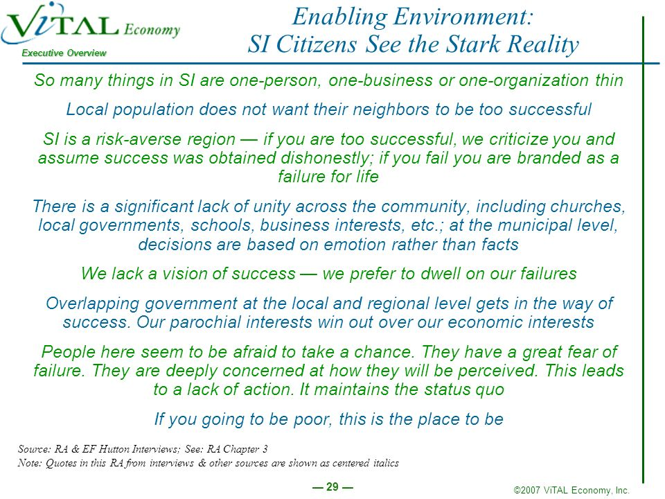 ©2007 ViTAL Economy, Inc. Executive Overview 29 Enabling Environment: SI Citizens See the Stark Reality So many things in SI are one-person, one-busin