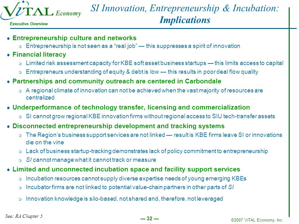 ©2007 ViTAL Economy, Inc. Executive Overview 32 SI Innovation, Entrepreneurship & Incubation: Implications Entrepreneurship culture and networks m Ent