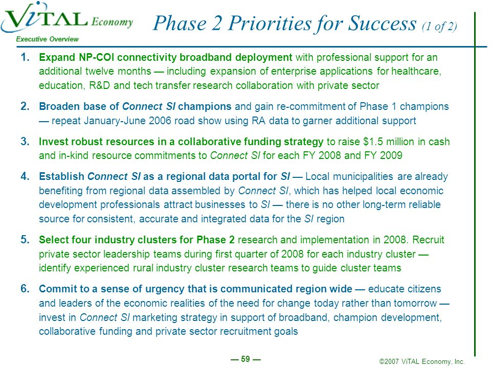 ©2007 ViTAL Economy, Inc. Executive Overview 59 Phase 2 Priorities for Success (1 of 2) 1.