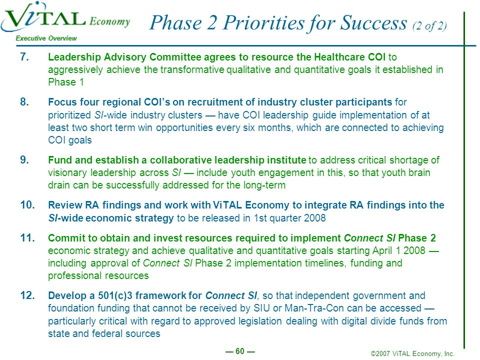 ©2007 ViTAL Economy, Inc. Executive Overview 60 Phase 2 Priorities for Success (2 of 2) 7.