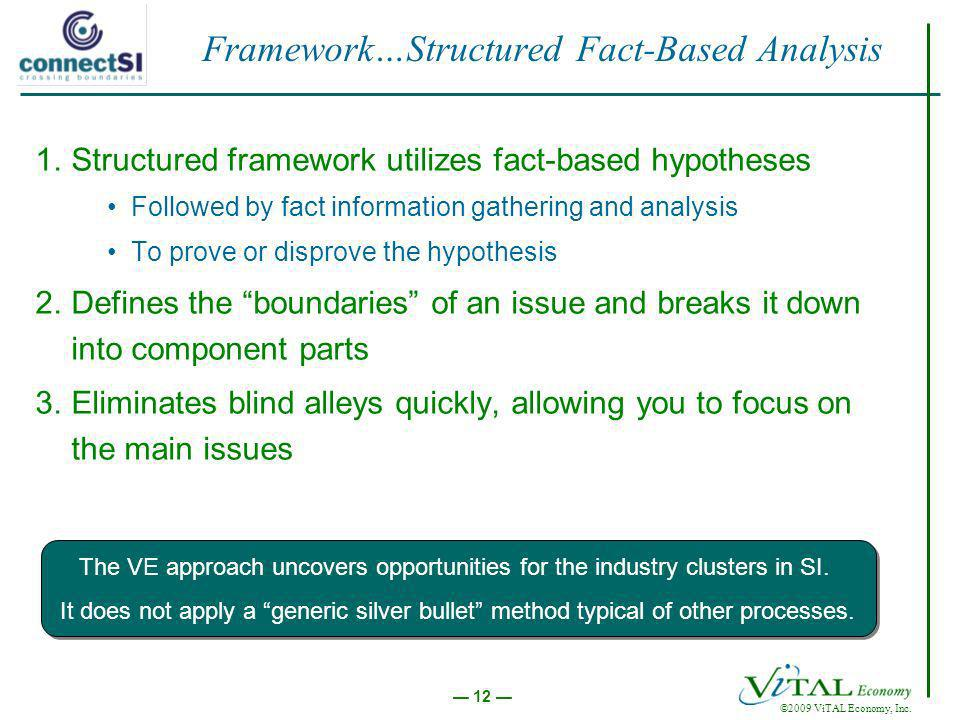 ©2009 ViTAL Economy, Inc. 12 Framework…Structured Fact-Based Analysis 1.Structured framework utilizes fact-based hypotheses Followed by fact informati