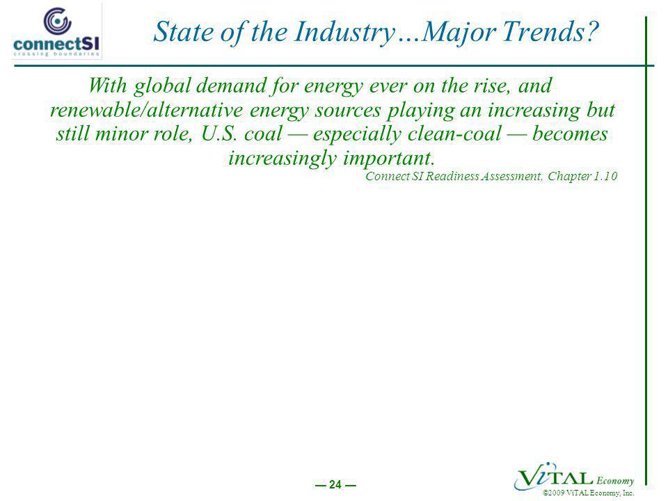 ©2009 ViTAL Economy, Inc. 24 State of the Industry…Major Trends? With global demand for energy ever on the rise, and renewable/alternative energy sour
