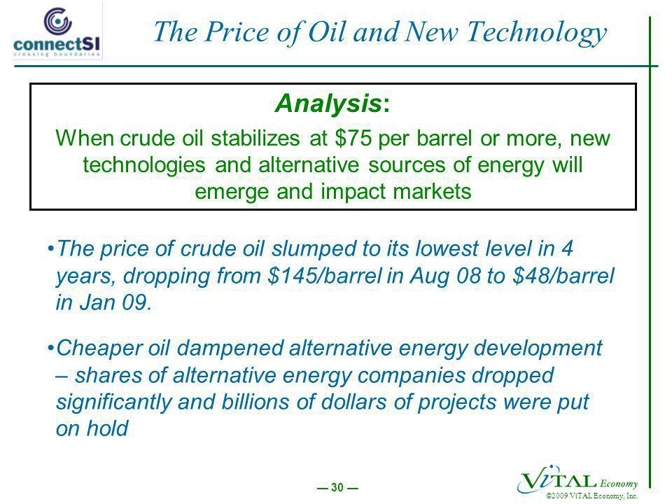 ©2009 ViTAL Economy, Inc. 30 The Price of Oil and New Technology Analysis: When crude oil stabilizes at $75 per barrel or more, new technologies and a