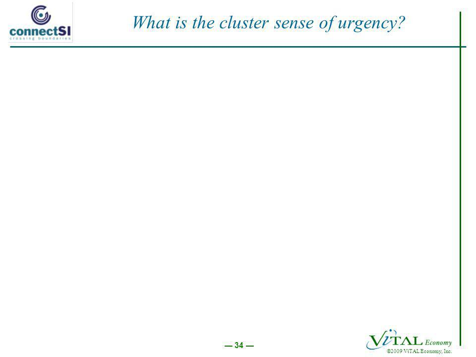 ©2009 ViTAL Economy, Inc. 34 What is the cluster sense of urgency