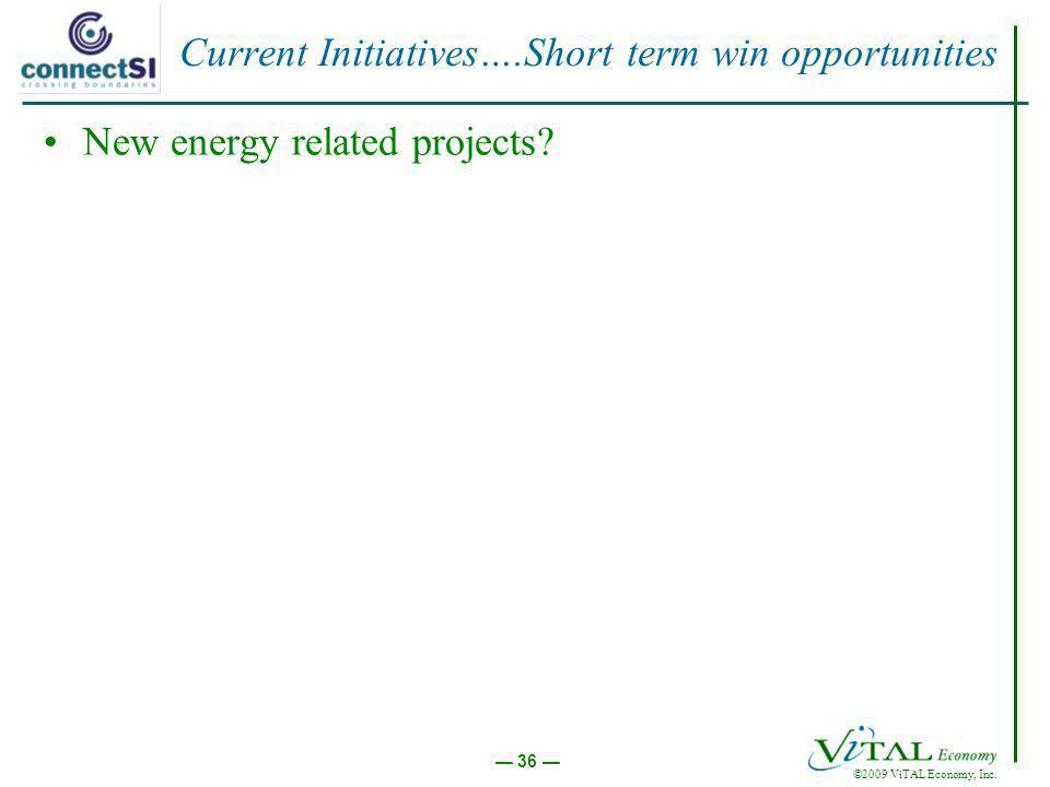 ©2009 ViTAL Economy, Inc. 36 Current Initiatives….Short term win opportunities New energy related projects?