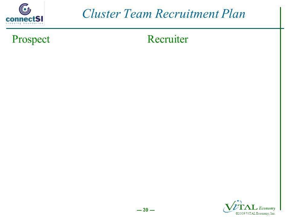©2009 ViTAL Economy, Inc. 39 Cluster Team Recruitment Plan ProspectRecruiter