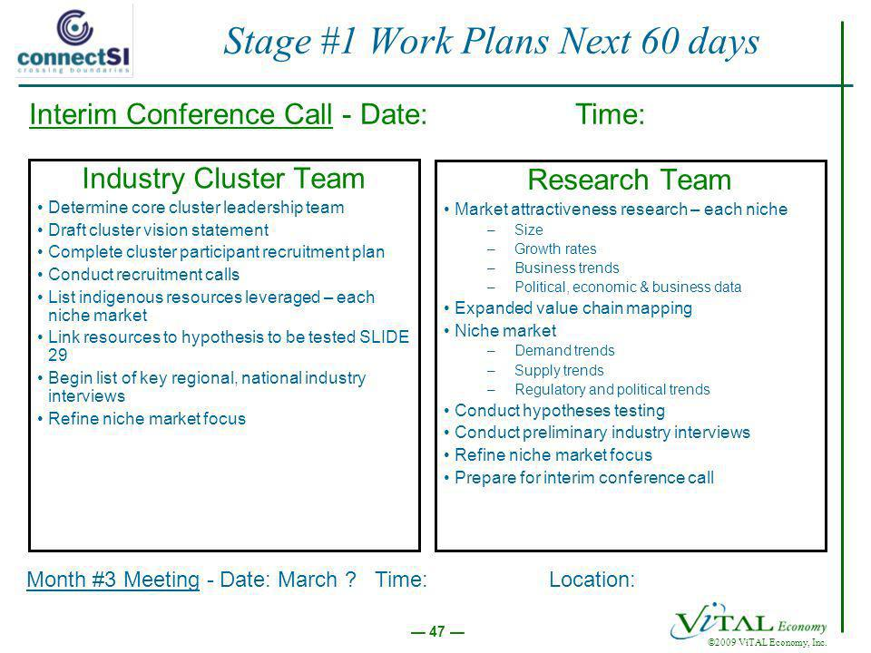 ©2009 ViTAL Economy, Inc. 47 Stage #1 Work Plans Next 60 days Industry Cluster Team Determine core cluster leadership team Draft cluster vision statem