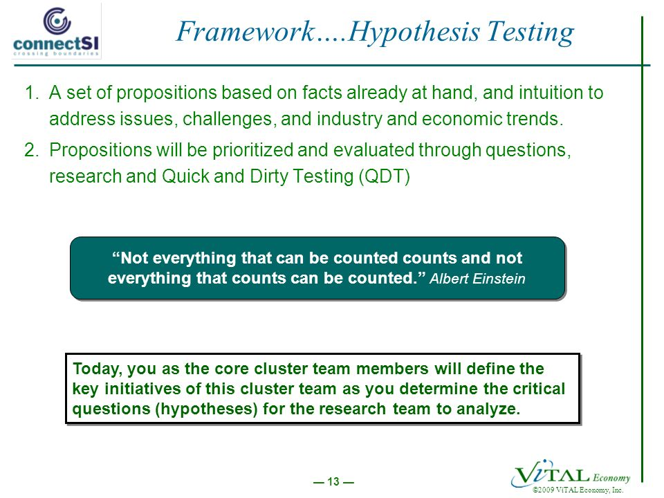 ©2009 ViTAL Economy, Inc. 13 Framework….Hypothesis Testing 1.A set of propositions based on facts already at hand, and intuition to address issues, ch