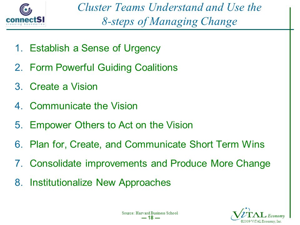 ©2009 ViTAL Economy, Inc. 18 Cluster Teams Understand and Use the 8-steps of Managing Change 1.Establish a Sense of Urgency 2.Form Powerful Guiding Co
