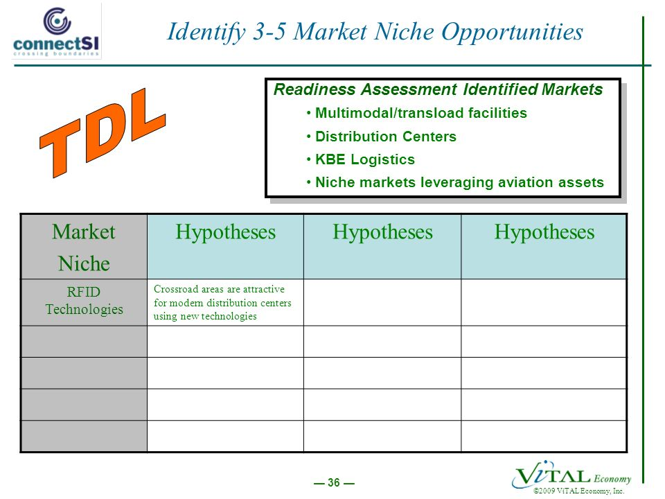 ©2009 ViTAL Economy, Inc. 36 Identify 3-5 Market Niche Opportunities Market Niche Hypotheses RFID Technologies Crossroad areas are attractive for mode