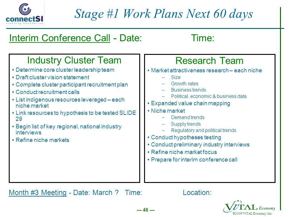 ©2009 ViTAL Economy, Inc. 46 Stage #1 Work Plans Next 60 days Industry Cluster Team Determine core cluster leadership team Draft cluster vision statem