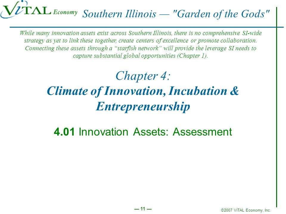 ©2007 ViTAL Economy, Inc. 11 Chapter 4: Climate of Innovation, Incubation & Entrepreneurship 4.01 Innovation Assets: Assessment Southern Illinois