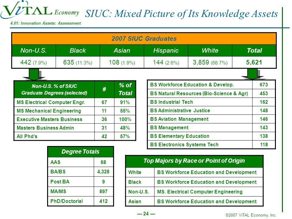 ©2007 ViTAL Economy, Inc. 24 SIUC: Mixed Picture of Its Knowledge Assets 2007 SIUC Graduates Non-U.S.BlackAsianHispanicWhiteTotal 442 (7.9%) 635 (11.3
