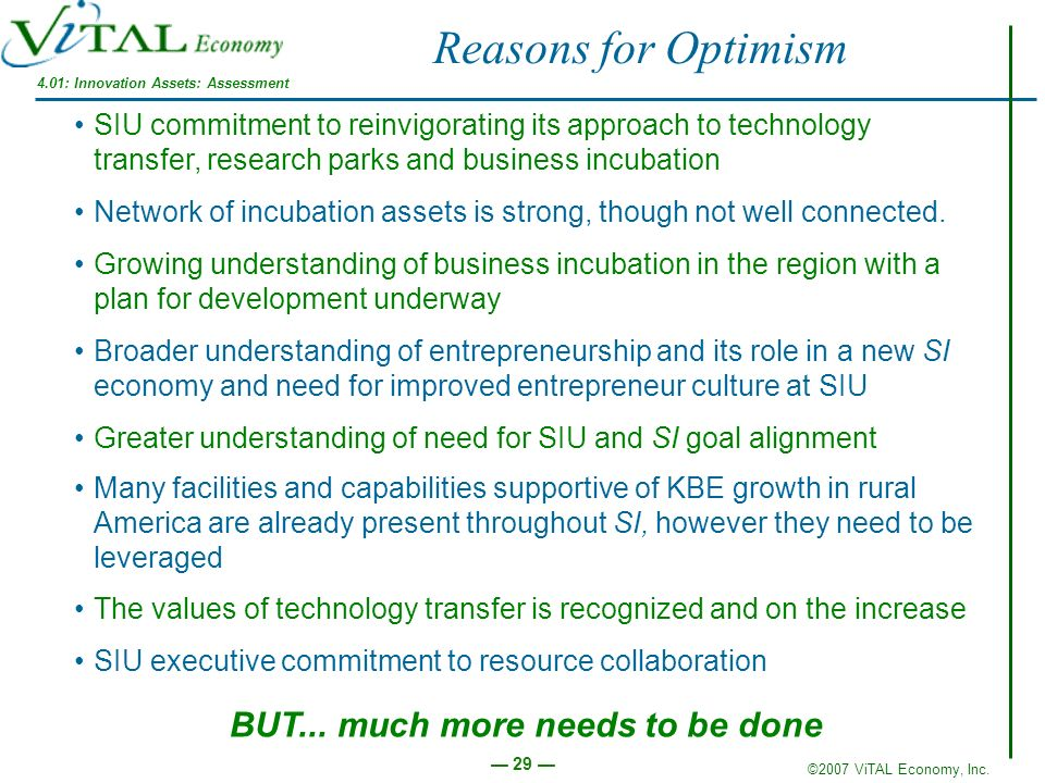 ©2007 ViTAL Economy, Inc. 29 SIU commitment to reinvigorating its approach to technology transfer, research parks and business incubation Network of i