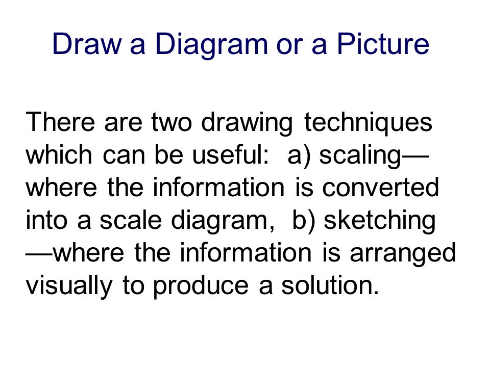 Draw a Diagram or a Picture There are two drawing techniques which can be useful: a) scaling where the information is converted into a scale diagram, b) sketching where the information is arranged visually to produce a solution.
