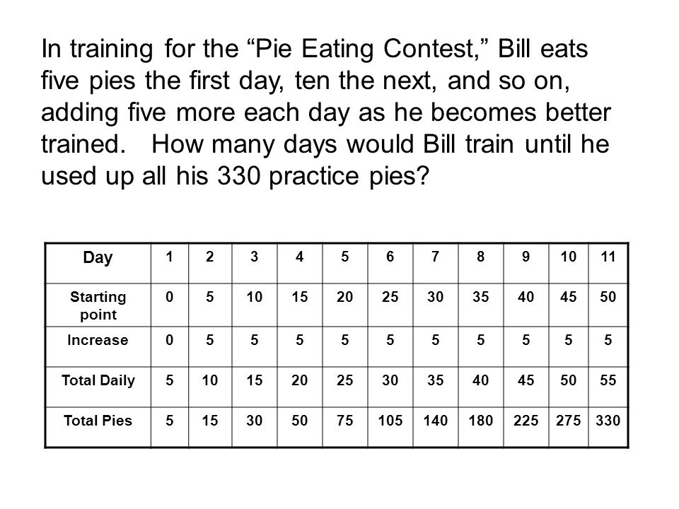 In training for the Pie Eating Contest, Bill eats five pies the first day, ten the next, and so on, adding five more each day as he becomes better trained.
