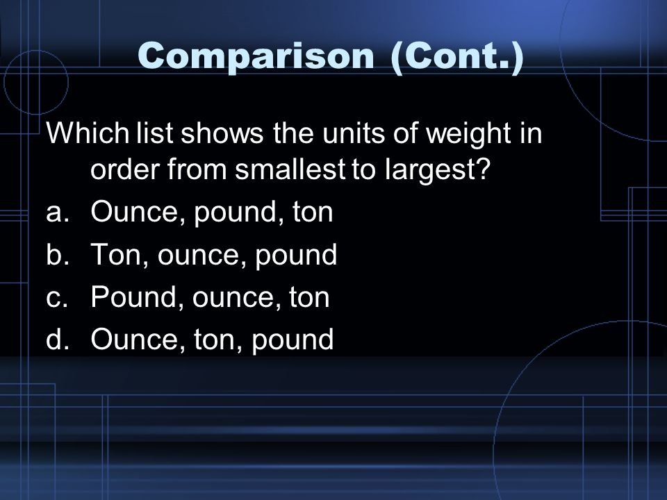 Comparison (Cont.) Which list shows the units of weight in order from smallest to largest.