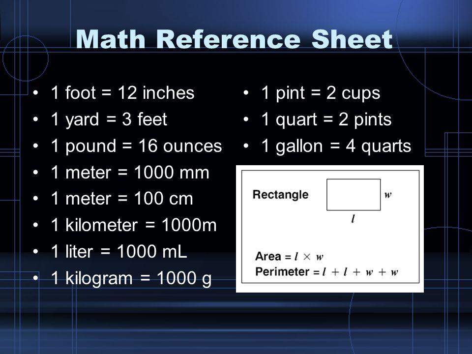 Math Reference Sheet 1 foot = 12 inches 1 yard = 3 feet 1 pound = 16 ounces 1 meter = 1000 mm 1 meter = 100 cm 1 kilometer = 1000m 1 liter = 1000 mL 1 kilogram = 1000 g 1 pint = 2 cups 1 quart = 2 pints 1 gallon = 4 quarts
