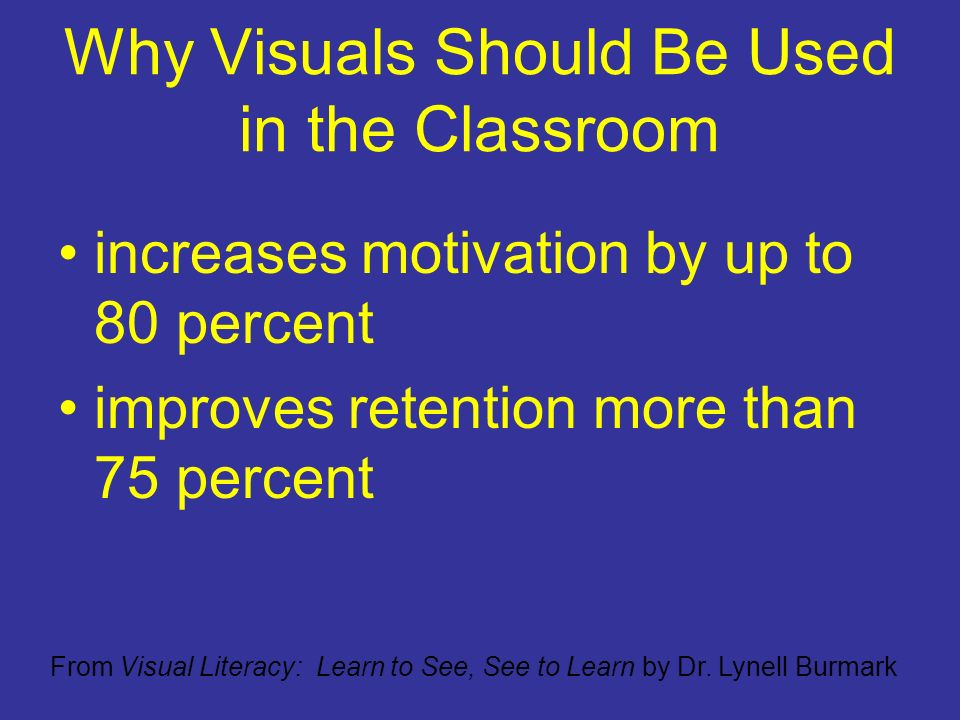 Why Visuals Should Be Used in the Classroom increases motivation by up to 80 percent improves retention more than 75 percent From Visual Literacy: Learn to See, See to Learn by Dr.