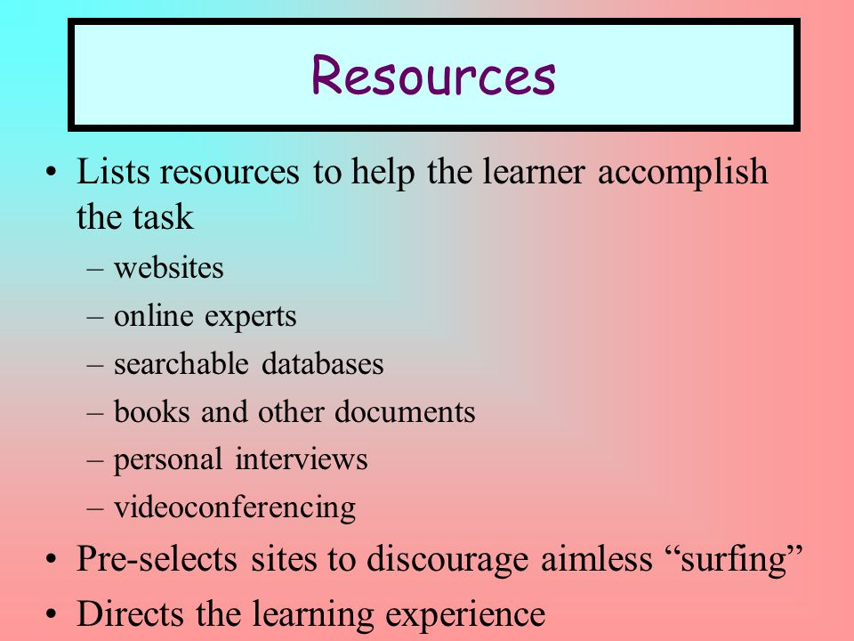 Lists resources to help the learner accomplish the task –websites –online experts –searchable databases –books and other documents –personal interviews –videoconferencing Pre-selects sites to discourage aimless surfing Directs the learning experience Resources