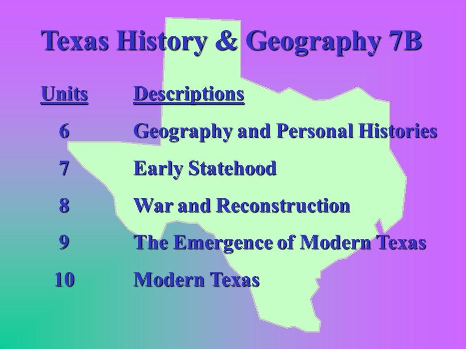 Texas History and Geography 7A Units 1 2 3 4 5 Descriptions Texas, Its Land and Early People Spanish Texas Texas as Part of Mexico The Texas Revolution The Republic of Texas