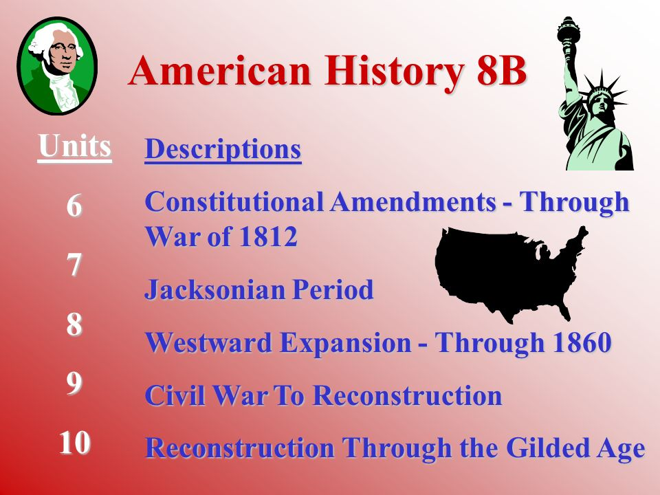 American History 8A Units 1 2 3 4 5 Descriptions The United States Today Exploration and Early Settlement The New Colonies British Policy and Revolutionary War The Constitution