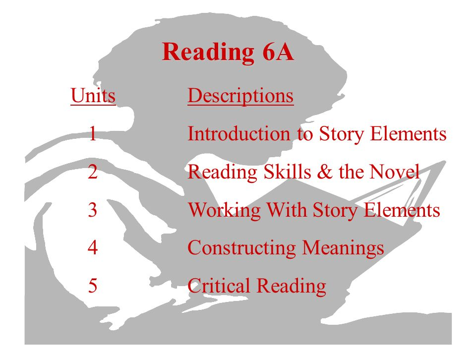 Reading 6A Units 1 2 3 4 5 Descriptions Introduction to Story Elements Reading Skills & the Novel Working With Story Elements Constructing Meanings Critical Reading