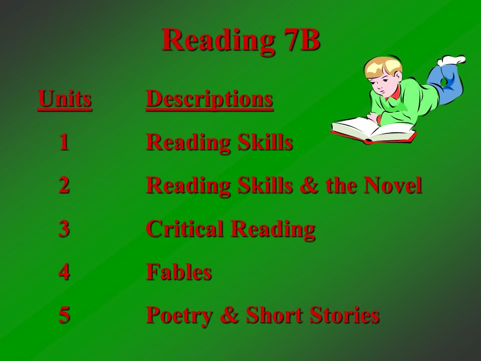 Reading 7A Units 1 2 3 4 5 Descriptions Introduction to Story Elements Reading Skills & the Novel Working with Story Elements Freedom for the People – Constructing Meanings Martin Luther King, Jr.