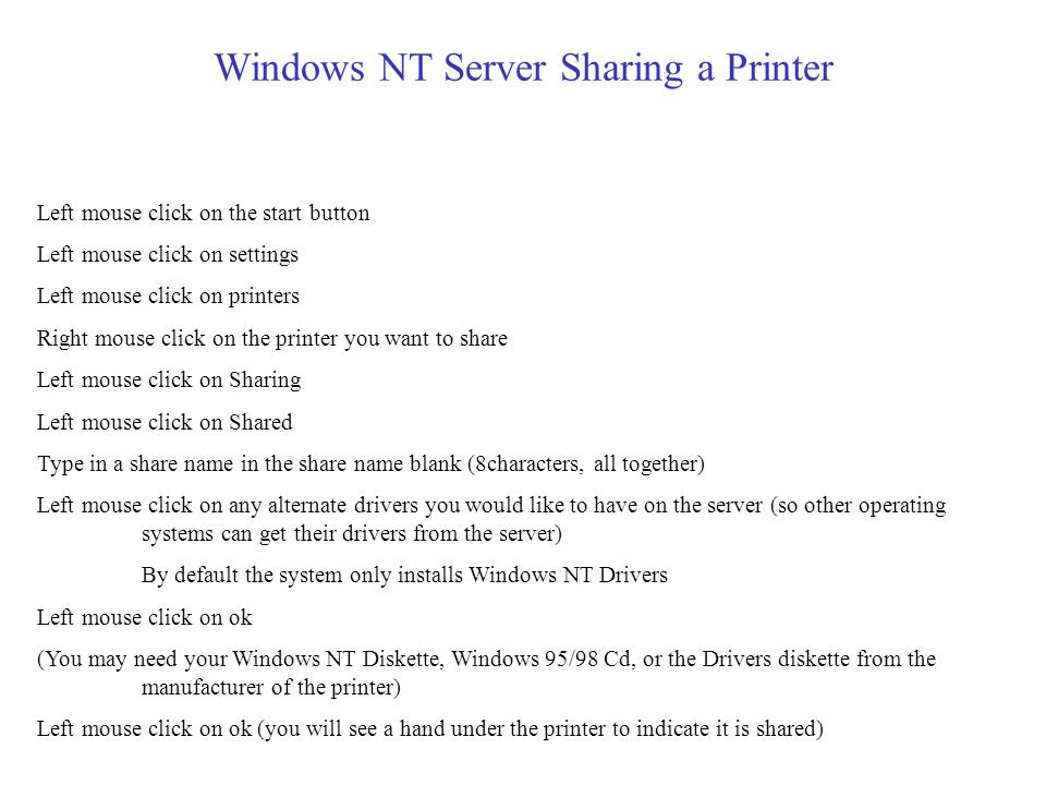 Windows NT Server Sharing a folder or a drive (Page 2 of 2) Next a Access Through Share Permissions box will pop up You can select a user or group (ch