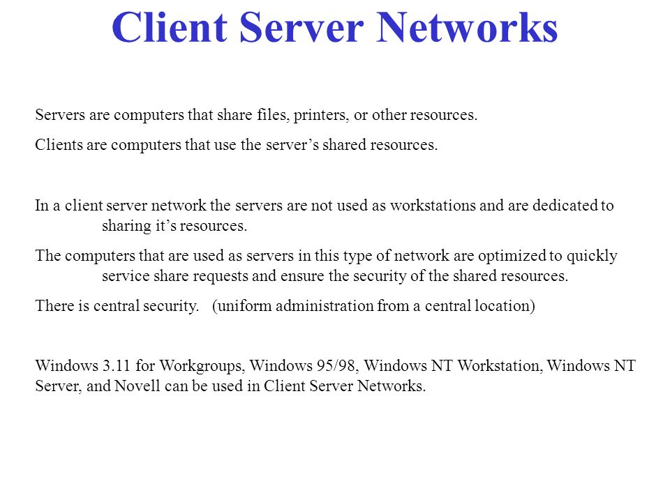 Peer to Peer Networks In peer to peer networks, there are no dedicated servers. Each computer in this type of network can act as both as a client and