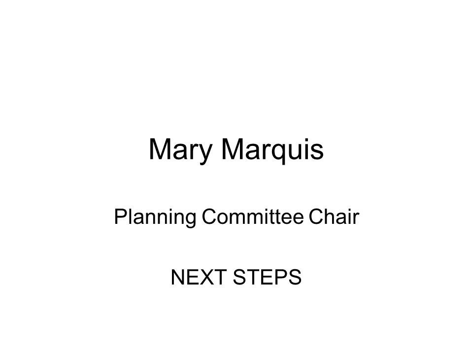 Mary Marquis Planning Committee Chair NEXT STEPS
