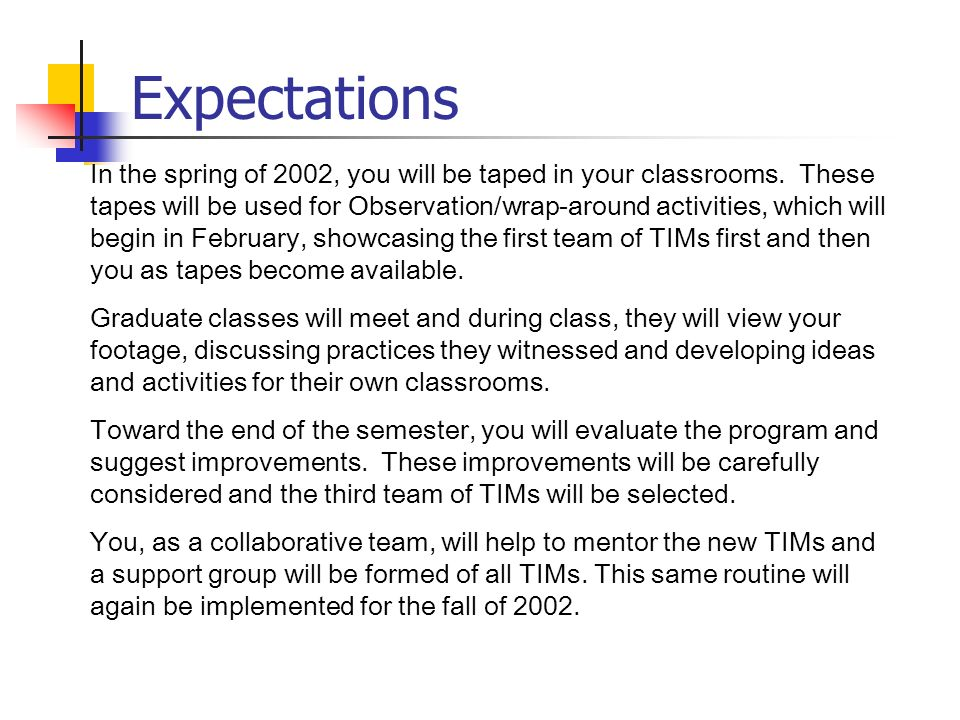 Expectations In the spring of 2002, you will be taped in your classrooms.