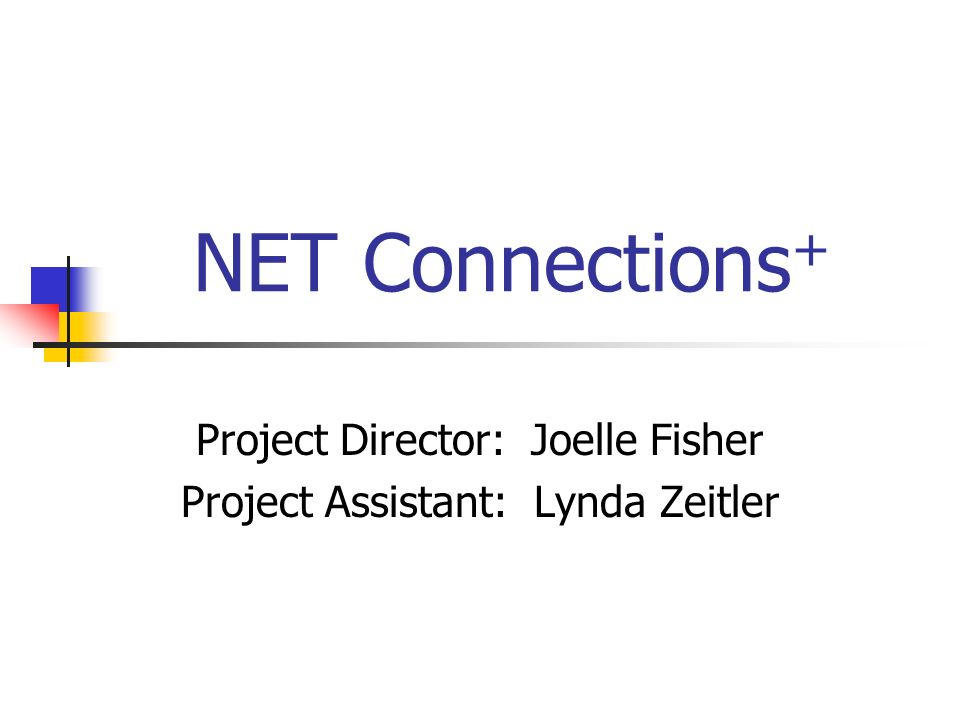 NET Connections + Project Director: Joelle Fisher Project Assistant: Lynda Zeitler