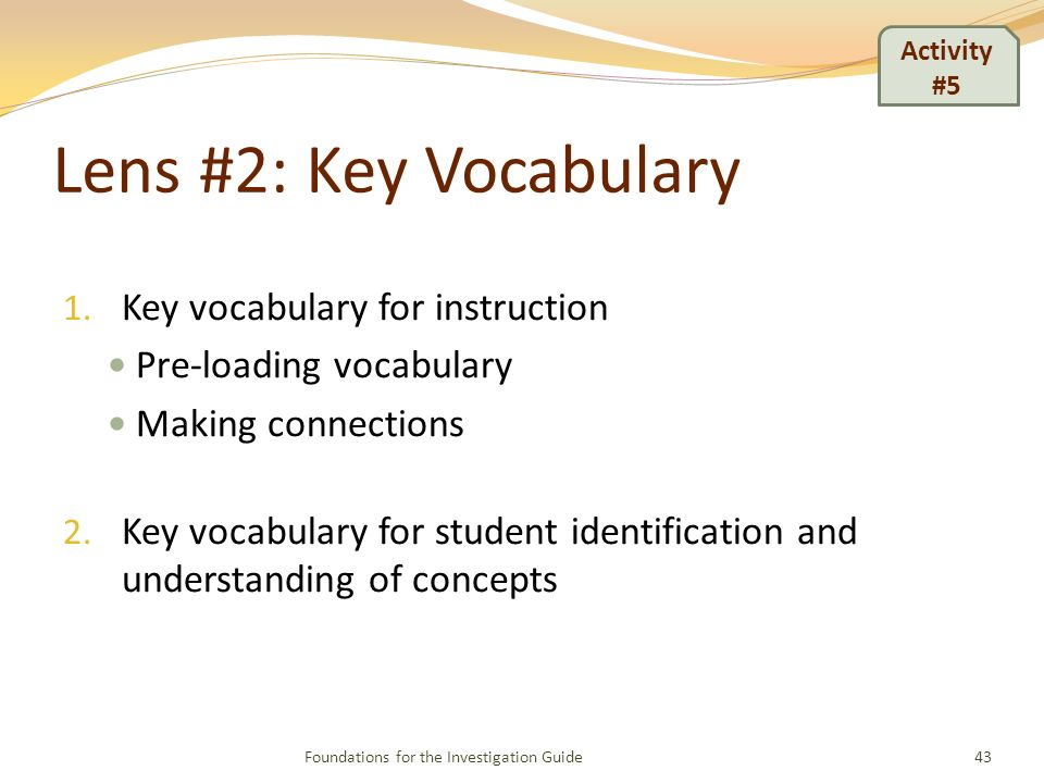 Lens #2: Key Vocabulary 1.