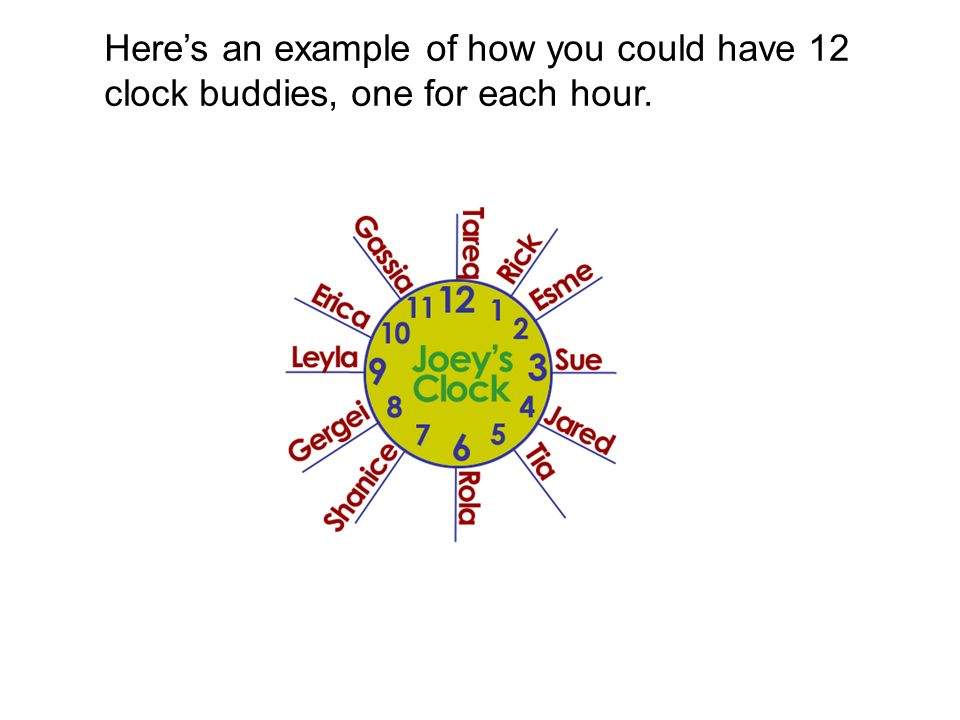Heres an example of how you could have 12 clock buddies, one for each hour.