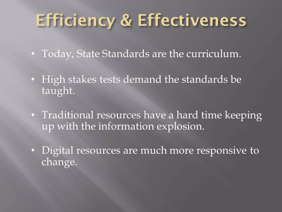 Today, State Standards are the curriculum. High stakes tests demand the standards be taught. Traditional resources have a hard time keeping up with th