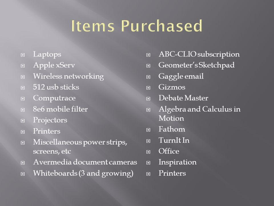 Laptops Apple xServ Wireless networking 512 usb sticks Computrace 8e6 mobile filter Projectors Printers Miscellaneous power strips, screens, etc Averm
