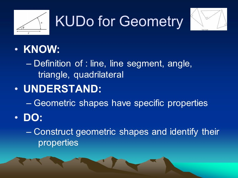 KUDo for Geometry KNOW: –Definition of : line, line segment, angle, triangle, quadrilateral UNDERSTAND: –Geometric shapes have specific properties DO: –Construct geometric shapes and identify their properties