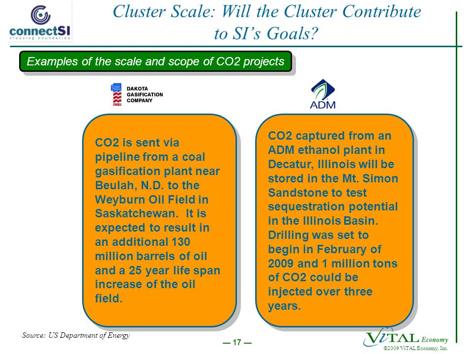 ©2009 ViTAL Economy, Inc. 17 Cluster Scale: Will the Cluster Contribute to SIs Goals.