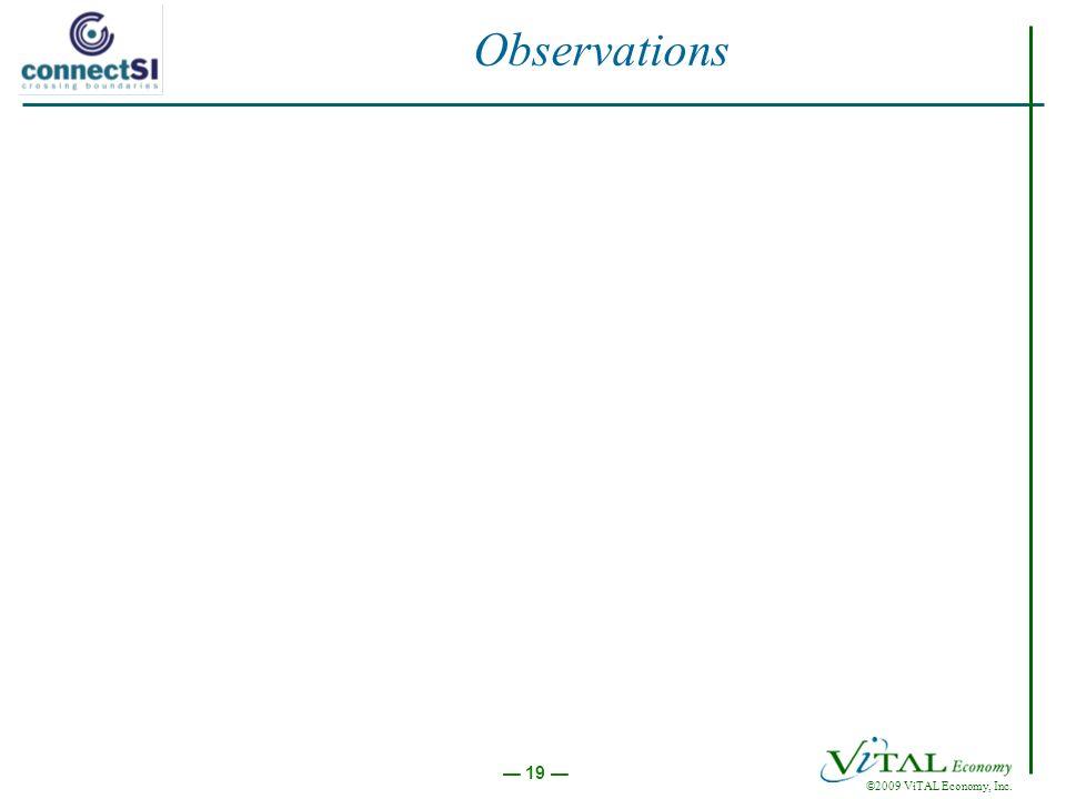 ©2009 ViTAL Economy, Inc. 19 Observations