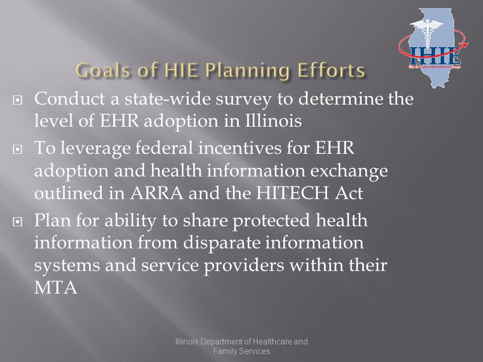 Illinois Department of Healthcare and Family Services Conduct a state-wide survey to determine the level of EHR adoption in Illinois To leverage federal incentives for EHR adoption and health information exchange outlined in ARRA and the HITECH Act Plan for ability to share protected health information from disparate information systems and service providers within their MTA