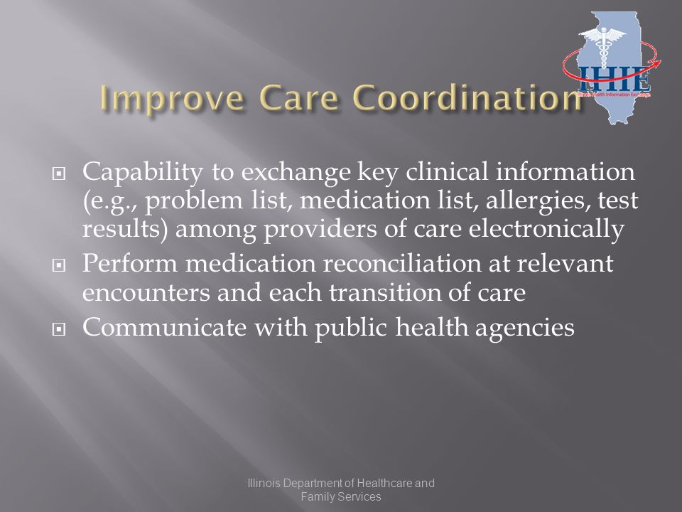 Capability to exchange key clinical information (e.g., problem list, medication list, allergies, test results) among providers of care electronically Perform medication reconciliation at relevant encounters and each transition of care Communicate with public health agencies Illinois Department of Healthcare and Family Services