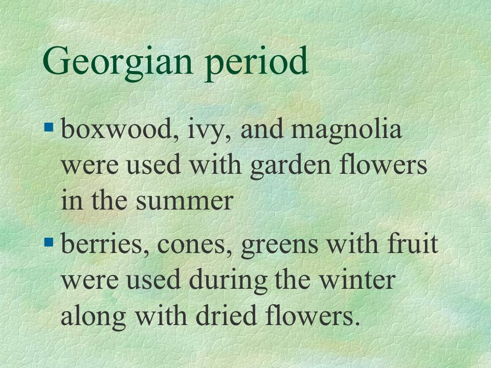 Georgian period §boxwood, ivy, and magnolia were used with garden flowers in the summer §berries, cones, greens with fruit were used during the winter