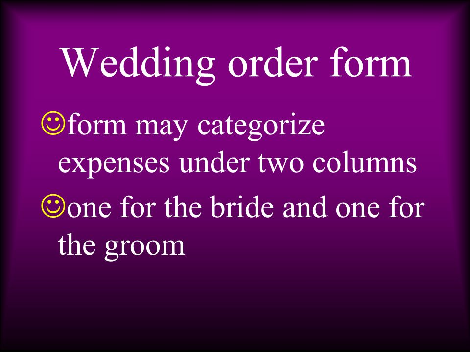 a copy is given to the bride to serve as her reference i temized list of floral expenses