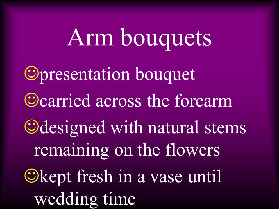 c olonial nosegay c ascading bouquet v ariations of each are made by altering the flowers used, size, density of bouquet