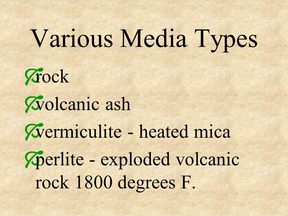 Various Media Types rock volcanic ash vermiculite - heated mica perlite - exploded volcanic rock 1800 degrees F.