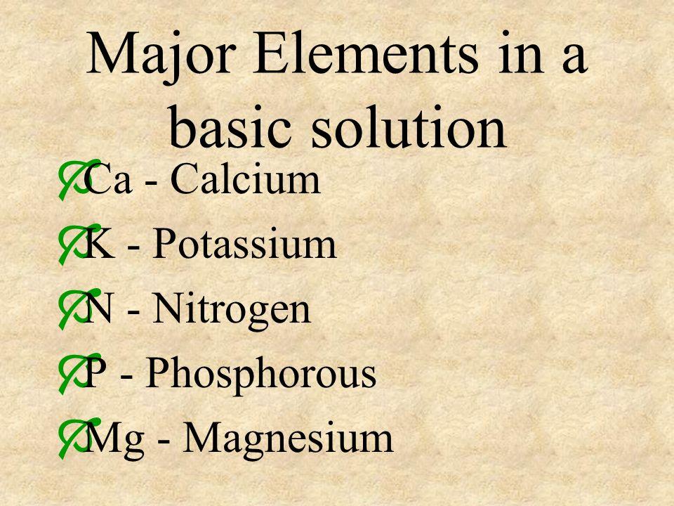 Major Elements in a basic solution Ca - Calcium K - Potassium N - Nitrogen P - Phosphorous Mg - Magnesium