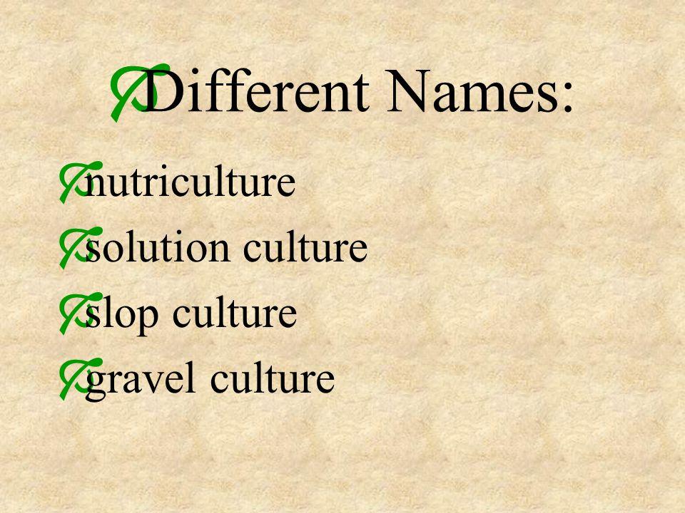 Different Names: nutriculture solution culture slop culture gravel culture