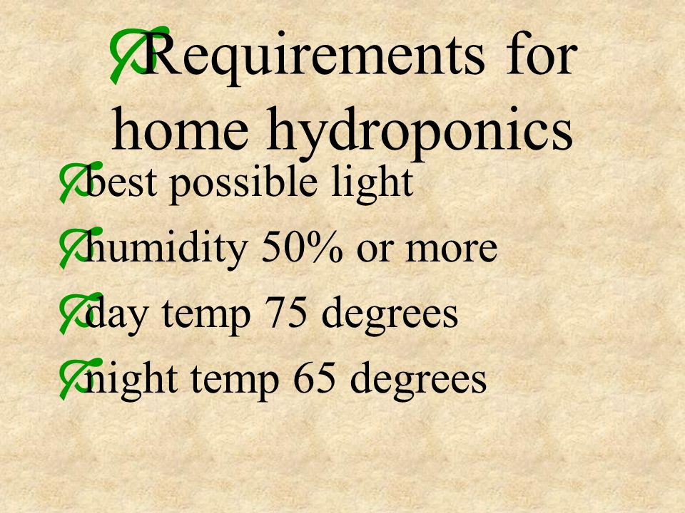 Requirements for home hydroponics best possible light humidity 50% or more day temp 75 degrees night temp 65 degrees